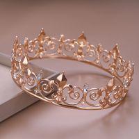 königin vollen, runden kronen groihandel-Goldene / silberne Braut volle runde Kristall Tiara Crown King Queen Pageant Prom Strass Schleier Stirnband Hochzeit Haarschmuck