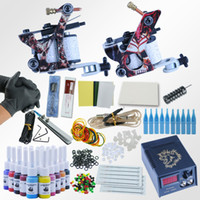 cabos de energia tatuagem venda por atacado-Professional Kit 1 Set Equipamentos de dupla Máquina 20 tatuagem cor Set Machine 2 Gun Power Supply Cord Kit Corpo Tattoo Beginner
