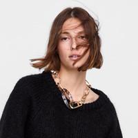 çok renkli kolye toptan satış-PPGPGG ZA Metal Link Zinciri Vintage Renkli Kolye Kadınlar Için Bohemian Trendy Bildirimi Takı Maxi Gerdanlık Kolye
