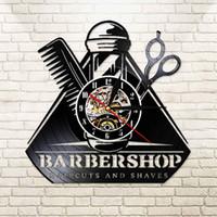 ingrosso salone di bellezza artistico-Negozio di barbiere 3D Decor applique da parete a LED Kit di strumenti da barbiere Orologio decorativo Longplay con taglio laser Orologio da parrucchiere Parrucchiere Arte da parete
