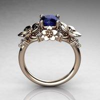 цветок сапфир кольца оптовых-Мода инкрустированная сапфировым кольцо цветка женщин 925 стерлингового серебра Обручальное венчания подарка ювелирных изделий США Размер 6-11