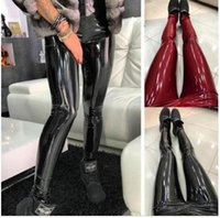 горячее сексуальное закрытие оптовых-2009 Горячие продажи плотно облегающие, узкие брюки с высокой талией, европейские и американские кожаные штаны из ПУ Сексуальные женские брюки Производители Dir