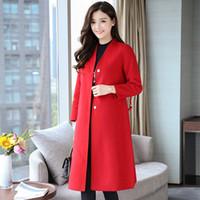 Elegante Massiv Büro Frauen Lange Wollmischung Mantel dünne Taschen Red Cashmere Jacke verdeckter Knopf mit V Ausschnitt Damen Coats