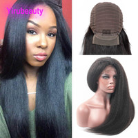 Wholesale 28 human hair lace wigs for sale - Group buy Brazilian Virgin Hair X4 Lace Front Wig Kinky Straight Human Hair Lace Wig With Baby Hair Pre Plucked Kinky Straight Yaki inch