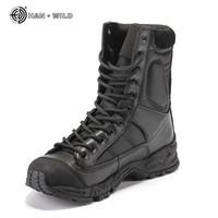 armeekampf stiefel männer großhandel-Militär Armee Stiefel Männer Schwarz Leder Desert Combat Arbeitsschuhe Winter Herren Ankle Tactical Boot Man Plus Größe MX190819