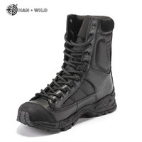 Wholesale army tactical boots resale online - Military Army Boots Men Black Leather Desert Combat Work Shoes Winter Mens Ankle Tactical Boot Man Plus Size MX190819