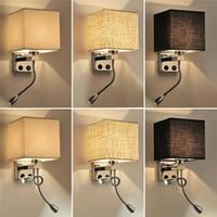 гибкий настенный светильник оптовых-Ткань настенный светильник бра переключатель лестницы светильник E27 лампа гибкая лампа для чтения спальня проход балкон современный настенный прикроватный светильник