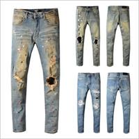 Hommes détruit Jeans Denim style blanc déchiré fissures Slim Fit en détresse