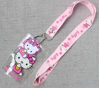 Wholesale id badge holder chain for sale - Group buy Hello Kitty cartoon Neck Strap Lanyard For ID Badge Cell Phone Key chain Great Gift