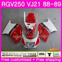 carenagem 1989 venda por atacado-Bodys Para SUZUKI SAPC RGV 250 VJ21 RVG250 RGV250 88 89 90 91 92 93 17HM.10 RGV-250 VJ22 1988 1989 1990 1991 1992 1993 Top Red White Fairing