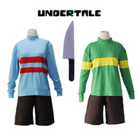 Wholesale cosplay knives resale online - Halloween costumes Game Undertale Chara Frisk cosplay costumes green blue Sportswear top pants knife included full set