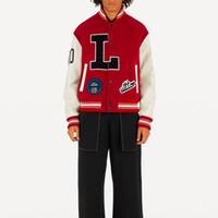 kırmızı ceket erkekler toptan satış-19SS Harf Aplike Kasetli Beyzbol Ceketler Spor Rahat Erkekler Kadınlar Çift Günlük Düğme Coat Moda Dış Giyim Kırmızı Siyah HFHLJK015
