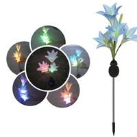 güneş bahçe led çiçek ışıkları toptan satış-Güneş Işığı 4 Başkanları Güneş Fener LED Dekoratif Açık Çim Lambası 4 Çiçek Lily Garden Lambası Güneş Çiçek ışık