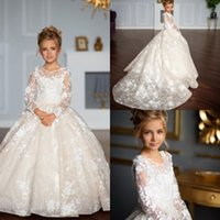 Wholesale luxury kids wedding dresses resale online - Luxury Full Lace Flower Girls Dresses Sheer Jewel Neck Kids Formal Wear For Wedding Floor Length Girl Pageant Party Gowns