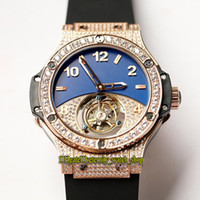 Wholesale big band mens watches for sale - Group buy Top version Big mm Real Tourbillon Mechanical Mens Watch Sapphire Rose Gold Diamonds Case Rubber Band Designer Sport Watches