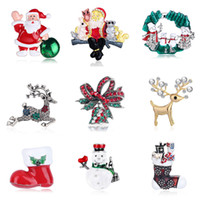 Wholesale santa claus brooch jewelry resale online - 8Seasons Christmas Series Enamel Brooches Santa Claus New Year Fashion Jewelry Gift Clothing Pin Badge Dress Accessories PC
