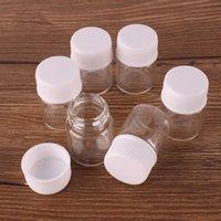 ingrosso artigianato in plastica-100pcs 22 * 30mm 5ml bottiglie di profumo di vetro trasparente spice con tappo a vite in plastica bianca fiale di piccolo vaso fiale mestiere di diy