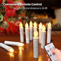 Wholesale holiday flameless candles resale online - 10pcs Led Candles Flameless Taper Candle Wireless Remote Control for Home Party Wedding Holiday Christmas Tree Decoration Y200109