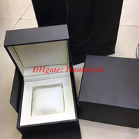 Wholesale gift certificate boxes resale online - Hight Quality brownk leather Watch Box Mens Womens Watches square Box With Certificate Card Gift Paper Bags