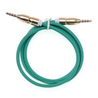 câble de 3,5 mm achat en gros de-3.5 Jack Câble Audio Jack 3.5 mm Mâle à Mâle tête de balle Audio Câble Aux pour iPhone voiture Casque Haut-parleur 4 Fils Ligne Aux Cord 100pcs