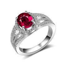silber 925 rubin armband großhandel-925 Sterling Silber CZ Diamantring übergroßen Rubinring 18 Karat Gold Ehering Pandora Stil Armband weiblich