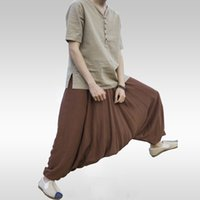 мешковатые брюки мужчины промежность оптовых-Men Joggers Cotton  Harem Pants Men Big Crotch Pants Nepal Baggy Linen Hip Hop Pure Color Big Bloomers Punk