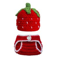Wholesale handmade baby outfits resale online - Newborn Strawberry Outfit Handmade Knit Crochet Baby Boy Girl Strawberry Beanie and Diaper Cover Set Infant Fruit Photo Prop