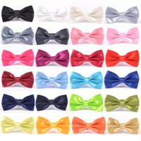 Wholesale mens plain ties for sale - Group buy Mens Candy Color Bow Tie Classic Boy Plain General Wedding Party Neckties Fashion Butterfly Bowknot Tie TTA1227