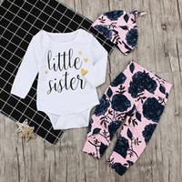 rosa traje de 24 meses al por mayor-0-24 meses las niñas bebés flores color de rosa 3 unids / lote trajes niños pequeños mameluco + pantalones + gorrita tejida ropa infantil traje mono
