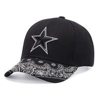 gorra coreana de beisbol al por mayor-Gorras de béisbol estrella bordadas en verano para hombres y mujeres. Versión coreana del hip hop curvada a lo largo de la tapa impresa