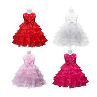 vestidos de casamento de verão bebê menina venda por atacado-Crianças Menina Bow Dress Baby Girl Roupas de Designer Princesa Vestido de Noiva Flor De Malha Saia de Renda Verão 19