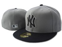 ingrosso ny cappello piatto-2018 Men's Fashion Hip Hop new york cappello aderente flat Brim embroiered team ny lettera logo fan baseball Cappello Grigio Colore NY full closed Cha