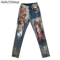 ingrosso baggy pantaloni arancione-Adatti ad annata paillettes Fidanzato Heavy stampa a colori Stampaggio Stretch Designer jeans skinny Jeggings Pants Qualità dipinta cotone