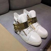 ingrosso stili di catena in oro bianco-migliori scarpe sportive in pelle di qualità con fibbia in oro catena da uomo donna scarpe da viaggio con scatola alta sneaker stile bianco di alta qualità