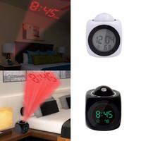 proyector led funcionando al por mayor-Proyector Reloj Despertador Pantalla LCD Proyección Pantalla LED Hora Reloj Despertador Digital Hablando Voz Indicador Termómetro Snooze Función Escritorio Decoración