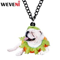 Wholesale pug pendants for sale - Group buy WEVENI Acrylic Halloween Cute French Bulldog Pug Dog Necklace Choker Animal Jewelry Teens Gift Charm Party Festival Decoration