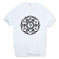Wholesale men's rings for sale - Print Jn Buddhism Om Mani Padme Hum T shirt O neck Short Sleeves Tibetan Buddhism Thangka Six Words Ring T Shirt Hcp811