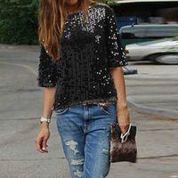 yarım kılıf ince üst bluz toptan satış-Yeni Moda Bayanlar zarif İpek bluzlar skew yaka Yarım kollu casual gömlek casual slim marka tops