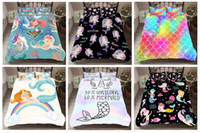 kraliçe denizkızı toptan satış-Rüya Karikatür Renkli Mermaid 3D Baskılı Ev Tekstili Aşağı Nevresim / Yorgan Yatak takımları, Ikiz, Tam, Kraliçe, Kral