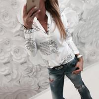 ärmellose bluse bogenkragen groihandel-Gedruckter Buchstabe V-Ausschnitt T-Shirt Langarmshirts Pullover Shirt Tops Bluse Mode Frauen Kleidung Drop Ship