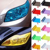 auto lampen aufkleber großhandel-Auto Lampe Film Scheinwerfer Farbe Vinyl Film Blatt Aufkleber Auto Rauch Nebelscheinwerfer Rücklicht HHA117