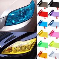 Wholesale car headlight decorations resale online - Car Lamp Film Headlight Color Vinyl Film Sheet Sticker Auto Smoke Fog Light Headlight Taillight Car Decoration HHA117
