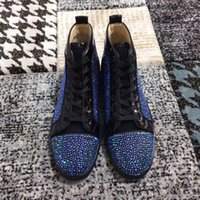 Wholesale sparkle shoes for wedding resale online - Perfect Blue Strass High Top Red Bottom Sneakers Shoes For Women Men Rhinestone Sparkling Casual Walking Luxury Dress Wedding Party