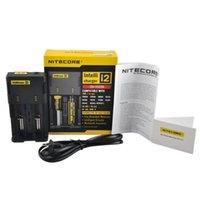 cargadores de bateria al por mayor-Venta caliente Nitecore I2 cargador universal para 16340/18650/14500/26650 batería US AU de la UE enchufe UK 2 en 1 cargador de batería Intellicharger