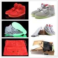 basketbol ayakkabıları yeşil renkte toptan satış-Güncelleme 2018 Klasik Kanye West 2 II NRG Kırmızı Ekim basketbol Ayakkabıları erkekler için 2 s Glow Yeşil Siyah Grye Kırmızı Moda Spor Sneakers ABD