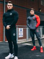 ingrosso set completo di joggers-Autunno Tuta Gym Running Men Set Abbigliamento sportivo Uomo Top Fitness Bodybuilding Maschile Tuta Sportiva con cappuccio e pantaloni Tuta sportiva