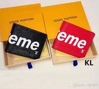 concepteurs de portefeuille femmes achat en gros de-EME Rouge / Noir Court Fold Portefeuille Nouveau Design Fourre-tout Portefeuilles pour Femmes Hommes Court Coin Poche Porte-monnaie Pochette Sacs WVL01