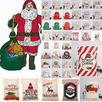 Christmas DecorationsChristmas bags Large Canvas Monogrammable Santa Claus Drawstring BagWith Reindeers Monogramable Xmas Gifts Sack Bag