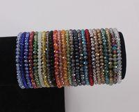 facettierte armbänder großhandel-4mm Briolette Kristall Facettierte Rondelle Perlen Armbänder Strang Elastische Perlen Armband Dehnbarer Armreif Schmuck
