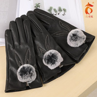 Wholesale hot surface gloves resale online - hot surface Adult gloves ladies fingertips touch screen imitation rabbit haired gloves ladies leather gloves cotton